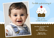 Lil Cupcake Blue - Boy Birthday Invitations