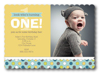 Confetti One Blue - Boy Birthday Invitations
