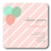 Girl Birthday Party Invitations - Candy Balloons
