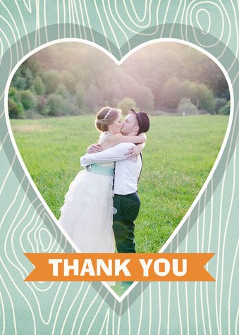 Wedding Thank You Cards, Woodland Heart Design