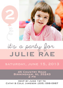 Girl Birthday Invitations - Miss Pinky