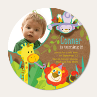 Photo Boy Birthday Invitations - Jungle Jam