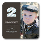 Boy Birthday Party Invitations - Two Stripe Blue