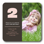 Girl Birthday Party Invitations - Two Stripe Pink