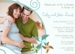 Photo Baby Shower Invitations - Aqua Pinwheels