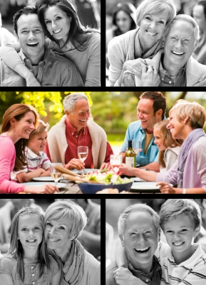 Personalized Photo Cards, Five Vertical - Black Border Design