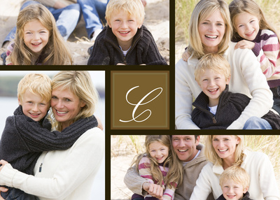 Personalized Photo Cards, Four Horizontal - Brown Monogram Design