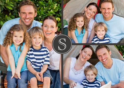 Personalized Photo Cards, Three Horizontal - Gray Monogram Design