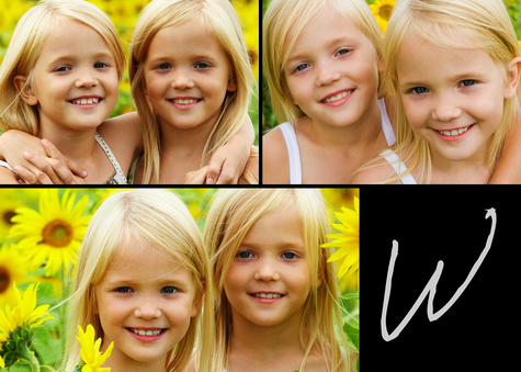 Personalized Photo Cards, Three Horiizontal - Black Monogram Design