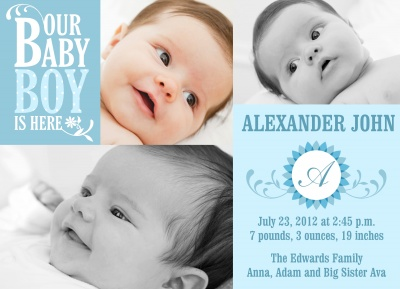 Birth Announcements, Daisy Do Blue Design