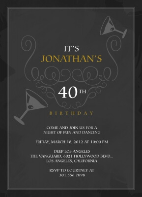 Adult Birthday Party Invitations, Smooth Sophisticate Design