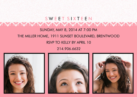 Teen Birthday Invitations, Simply Sweet Sixteen Design