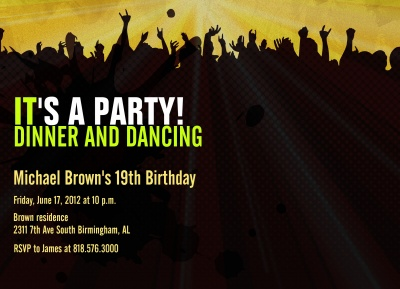 Teen Birthday Invitations, Dance Party Design