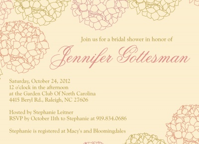 Bridal Shower Invitations, Hydrangea Love Design