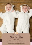 Twin Birth Announcements - Double Modern Princess