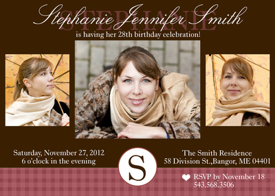 Adult Birthday Party Invitations, Maroon Lady Design