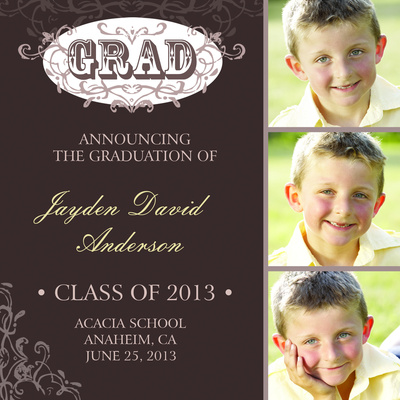 Graduation, Edwardian Print Announcement Design