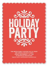 Crimson Scallops -  Christmas Party Invitations