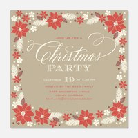 Poinsettia Pretty - Holiday Party Invitations