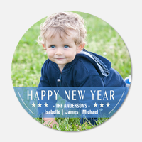 new years photo cards - Blue Bandeau