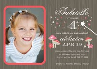 Photo Girl Birthday Invitations - Enchanted Forest