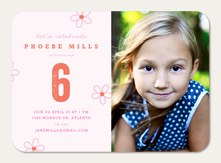 Photo Girl Birthday Invitations - Sweet Blossoms