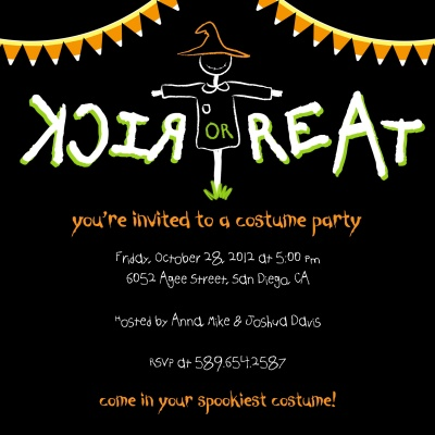 Halloween Party Invitations, Candy Corn Crow Design