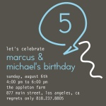 Twin Photo Birthday Party Invitations - Double Neon Blue