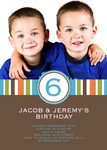 Twin Photo Birthday Party Invitations - Twin Super Stripe