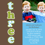 Twin Photo Birthday Party Invitations - Twin Tremendous Threes