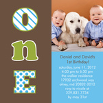 Twin Birthday Party Invitations - Number One Boys