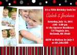 Twin Birthday Invitations - Double Red Cherry Bash