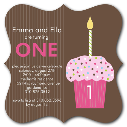 Kids Birthday Invitations, Twin Strawberry Cupcakes Design