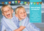 Photo Twin Birthday Invitations - Blue Ocean Flags