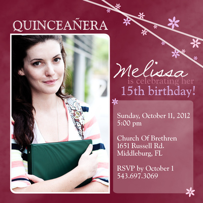 Quinceañera Invitation cards, Sweet Fifteen Design