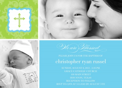 Baptisms & Christening Invitations, Sweet Lamb Blue Design