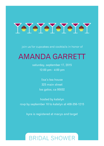 the cupcake and martini border in this contemporary bridal shower invitation is perfectly suited to a more decadent shower click on the image below to see