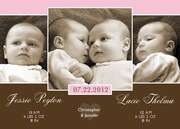 Twice as Nice Twin Birth Announcements -  Twin Baby Announcements