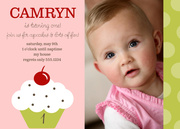 Photo Birthday Invitations - Cupcake Birthday Invites