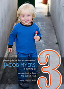 Photo Birthday Invitations - Big Number Boy Birthday Invitations