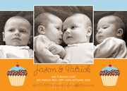 Twin Birthday Invitations - Cupcakes