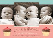 Cupcakes -  Twin Invitations