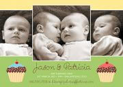 Cupcakes - Twin Birthday Invitations