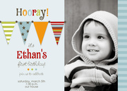 Flags Photo Birthday Invitations - Boy Birthday Invitations