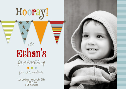 Flags Photo Birthday Invitations