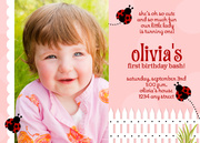 Ladybug Girl Birthday Invitations - Girl Birthday Invitations