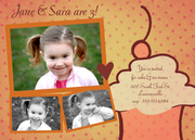 Cupcake Twins Birthday Invites - Twin Birthday Invitations