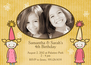 Falling Flowers - Twin Birthday Invitations - Twin Birthday Invitations