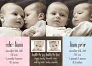 Robin and Liam - Twin Birth Announcements