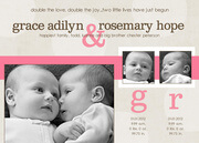 Twin Baby Announcements - Grace and Rose